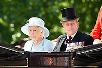 Queen and Prince Phillip<br /> during Trooping the Colour on The Mall, London. <br /> <br /> <br /> &copy;Ash Knotek  D3283  17/06/2017