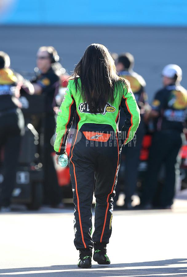 Mar. 1, 2013; Avondale, AZ, USA; NASCAR Sprint Cup Series driver Danica Patrick during qualifying for the Subway Fresh Fit 500 at Phoenix International Raceway. Mandatory Credit: Mark J. Rebilas-