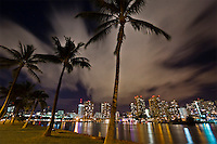 Waikiki at night, with the Ala Wai Canal in the foreground, Honolulu, O'ahu.