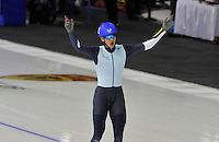 SPEEDSKATING: CALGARY: 15-11-2015, Olympic Oval, ISU World Cup, Mass Start Men, winner Bart Swings (BEL), ©foto Martin de Jong