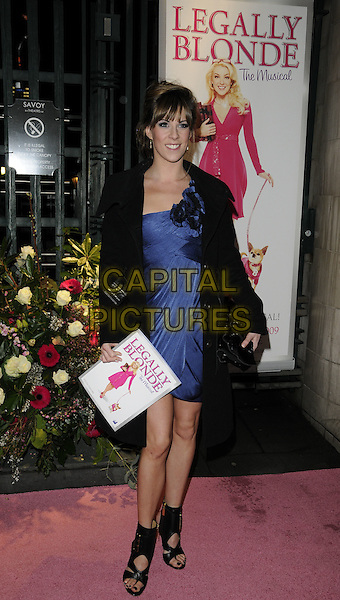 VERITY RUSHWORTH.The Gala Performance of 'Legally Blonde' at The Savoy Theatre, London, England. .January 13th, 2010 .full length black coat jacket blue purple dress ankle shoes sandals .CAP/CAN.©Can Nguyen/Capital Pictures.