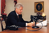 ***FILE PHOTO*** Bill Clinton Has Not Apologized To Monica Lewinsky And Claims Did The Right Thing Staying In Office.<br /> <br /> United States President Bill Clinton delivers his weekly radio address from the Map Room of the White House in Washington, DC on May 4, 1996<br /> CAP/MPI/RS<br /> &copy;RS/MPI/Capital Pictures