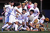 Glen Cove teammates celebrate after their 1-0 win over South Side in the Nassau County varsity boys soccer Class A final at Hofstra University on Wednesday, Nov. 2, 2016.