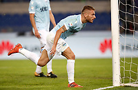 Calcio, Serie A: Roma, stadio Olimpico, 22 ottobre 2017.<br /> Lazio's Ciro Immobile celebrates after scoring during the Italian Serie A football match between Lazio and Cagliari at Rome's Olympic stadium, October 22, 2017.<br /> UPDATE IMAGES PRESS/Isabella Bonotto