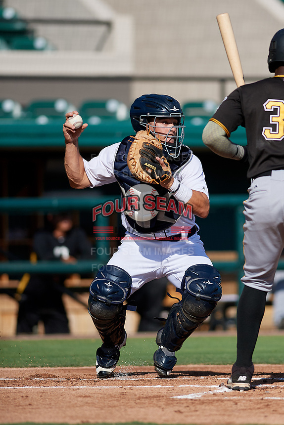 Detroit Tigers catcher Brady Policelli (71) during a Florida Instructional League game against the Pittsburgh Pirates on October 6, 2018 at Joker Marchant Stadium in Lakeland, Florida.  (Mike Janes/Four Seam Images)