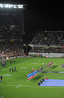 The teams line up for the national anthems during the international rugby match between the New Zealand All Blacks and France at Eden Park, Auckland, New Zealand on Saturday, 8 June 2013. Photo: Dave Lintott / lintottphoto.co.nz