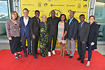 MIAMI, FL - MARCH 04: Anne Flatté, Owsley Brown, Mark Valens, Nicole St. Victor, Actor Jimmy Jean-Louis, Bernadette Williams, David César, Jean-Bernard Desinat and Christy McGill attend the Miami Film Festival screening for 'Serenade for Haiti' at Regal South Beach on March 4, 2017 in Miami, Florida.  ( Photo by Johnny Louis / jlnphotography.com )
