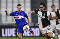 26th July 2020, Turin, Italy;  Adrien Rabiot and Jakub Jankto  during the Seria A league game, Juventus versus Sampdoria