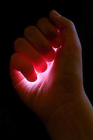 Light captured in child's hand.
