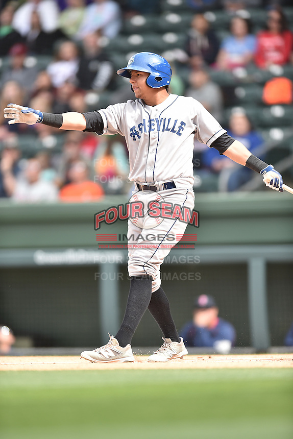 Asheville Tourists right fielder Yonathan Daza (2) swings at a pitch during a game against the Greenville Drive at Fluor Field on April 10, 2016 in Greenville South Carolina. The Drive defeated the Tourists 7-4. (Tony Farlow/Four Seam Images)