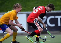 Action from the National Senior Men's Hockey Tournament match between Counties Manukau and Otago at National Hockey Stadium in Wellington, New Zealand on Monday, 17 September 2018. Photo: Dave Lintott / lintottphoto.co.nz