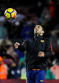 4th November 2017, Camp Nou, Barcelona, Spain; La Liga football, Barcelona versus Sevilla; Luis Suarez controls the ball on his chest during warm up