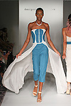 Model walks runway in an outfit from a the Skyblue by Abby Alba Spring Summer 2017 collection by Abby Alba, for the Designer's Collective Spring Summer 2017 fashion show during Fashion Gallery New York Fashion Week Spring Summer 2017 on September 10, 2016.