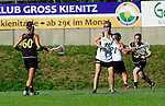 BERLIN, GERMANY - JUNE 22: Semifinal between Team Germany (black) vs LCC Radotin (white) during the Berlin Open Lacrosse Tournament 2013 at Stadion Lichterfelde on June 22, 2013 in Berlin, Germany. Final score 9-8. (Photo by Dirk Markgraf/www.265-images.com) *** Local caption ***