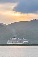 The World enters the International Port of Dutch Harbor, Aleutian Islands, Alaska.