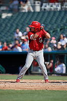Springfield Cardinals Irving Lopez (11) bats during a Texas League game against the Frisco RoughRiders on May 5, 2019 at Dr Pepper Ballpark in Frisco, Texas.  (Mike Augustin/Four Seam Images)
