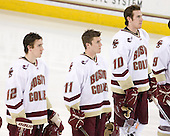 Kevin Hayes (BC - 12), Pat Mullane (BC - 11), Jimmy Hayes (BC - 10) - The Boston College Eagles defeated the visiting University of Massachusetts-Lowell River Hawks 5-3 (EN) on Saturday, January 22, 2011, at Conte Forum in Chestnut Hill, Massachusetts.