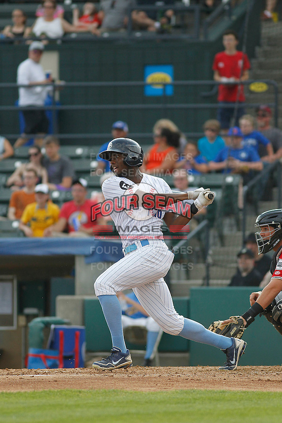 """Myrtle Beach Pelicans outfielder Trey Martin (15) at bat  during game one of a doubleheader against the Carolina Mudcats at Ticketreturn.com Field at Pelicans Ballpark on June 6, 2015 in Myrtle Beach, South Carolina. During the game the Pelicans wore special """"Let's Play Two"""" uniforms as a tribute to the late Chicago Cubs Hall of Famer Ernie Banks, as they do during the first game of every home doubleheader during 2015. Carolina defeated Myrtle Beach 1-0. (Robert Gurganus/Four Seam Images)"""