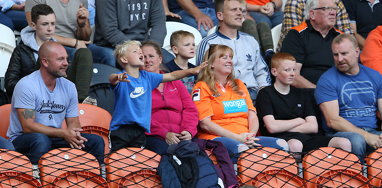 a young Blackpool fan celebrates his teams goal<br /> <br /> Photographer Stephen White/CameraSport<br /> <br /> The EFL Sky Bet League One - Blackpool v Portsmouth - Saturday 31st August 2019 - Bloomfield Road - Blackpool<br /> <br /> World Copyright © 2019 CameraSport. All rights reserved. 43 Linden Ave. Countesthorpe. Leicester. England. LE8 5PG - Tel: +44 (0) 116 277 4147 - admin@camerasport.com - www.camerasport.com