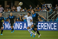 SAN JOSE,  - AUGUST 31: Dom Dwyer  #14 of the Orlando City SC and Guram Kashia #37 of the San Jose Earthquakes during a game between Orlando City SC and San Jose Earthquakes at Avaya Stadium on September 1, 2019 in San Jose, .