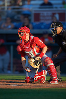Williamsport Crosscutters catcher Henri Lartigue (40) during a game against the Auburn Doubledays on June 25, 2016 at Falcon Park in Auburn, New York.  Auburn defeated Williamsport 5-4.  (Mike Janes/Four Seam Images)