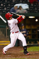 Alan Ahmady (38) of the Springfield Cardinals hits a line drive during a game against the Northwest Arkansas Naturals on May 13, 2011 at Hammons Field in Springfield, Missouri.  Photo By David Welker/Four Seam Images.