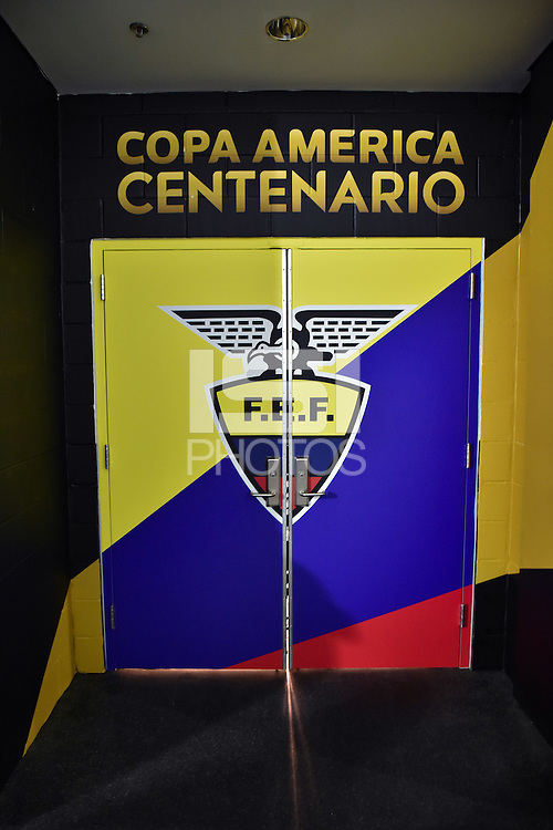 Glendale, AZ - Wednesday June 08, 2016:  Ecuador locker room prior to a Copa America Centenario Group B match between Ecuador (ECU) and Peru (PER) at University of Phoenix Stadium.
