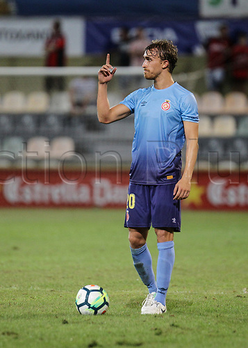 August 12th 2017, Reus, Catalonia, Spain; Pre-season friendly football, Reus Deportiu versus Girona; Marc Muniesa sends instruction for the free kick