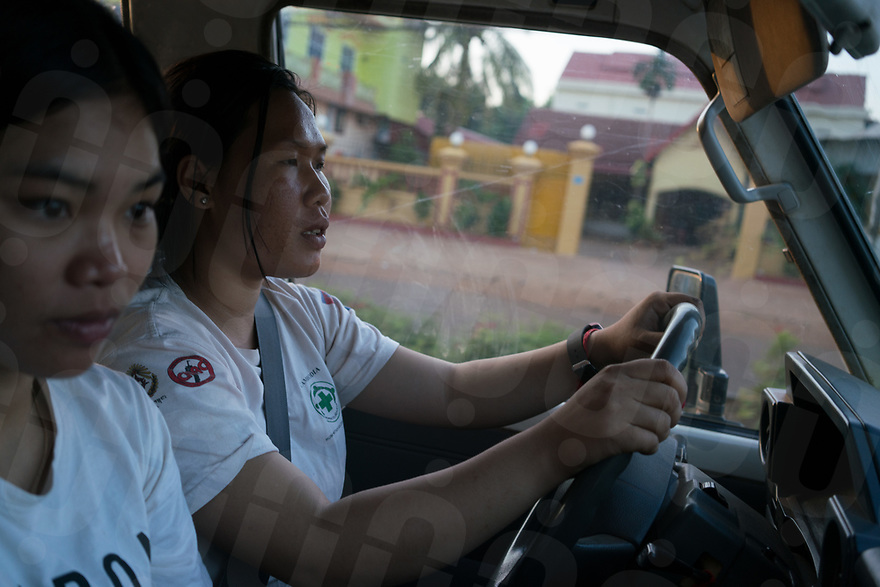 April 26, 2017 - Banlung (Cambodia). Team surveyors Thorn Chandoung and Thy Chantreahery drive to the local market to buy food for dinner. The majority of the members of the team live and sleep inside NPA's headquarters, a former tourist resort with bungalows and communal areas located in the outskirts of Banlung. © Thomas Cristofoletti / Ruom