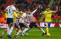 Leeds United's Aapo Halme vies for possession with Sheffield United's David McGoldrick<br /> <br /> Photographer Alex Dodd/CameraSport<br /> <br /> The EFL Sky Bet Championship - Sheffield United v Leeds United - Saturday 1st December 2018 - Bramall Lane - Sheffield<br /> <br /> World Copyright © 2018 CameraSport. All rights reserved. 43 Linden Ave. Countesthorpe. Leicester. England. LE8 5PG - Tel: +44 (0) 116 277 4147 - admin@camerasport.com - www.camerasport.com