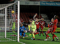 Exeter City's Jordan Moore-Taylor scores during the Sky Bet League 2 match between Crawley Town and Exeter City at Broadfield Stadium, Crawley, England on 28 February 2017. Photo by Carlton Myrie / PRiME Media Images.