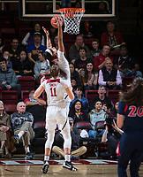 STANFORD, CA - February 22, 2019: Alanna Smith, DiJonai Carrington at Maples Pavilion. The Stanford Cardinal defeated the Arizona Wildcats 56-54.