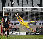 12.08.2018, Commerzbank - Arena, Frankfurt, GER, Supercup, Eintracht Frankfurt vs FC Bayern M&uuml;nchen , <br />DFL REGULATIONS PROHIBIT ANY USE OF PHOTOGRAPHS AS IMAGE SEQUENCES AND/OR QUASI-VIDEO.<br />im Bild<br />Torwart Frederik R&ouml;nnow (Frankfurt), Lucas Torro (Frankfurt)<br /> <br /> Foto &copy; nordphoto / Bratic