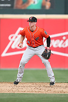 Connor Justus (6) of the Inland Empire 66ers in the field at second base during a game against the Rancho Cucamonga Quakes at LoanMart Field on May 7, 2017 in Rancho Cucamonga, California. Rancho Cucamonga defeated Inland Empire, 6-0. (Larry Goren/Four Seam Images)