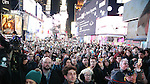 Crowds attend The Ghostlight Project to light a light and make a pledge to stand for and protect the values of inclusion, participation, and compassion for everyone - regardless of race, class, religion, country of origin, immigration status, (dis)ability, gender identity, or sexual orientation at The TKTS Stairs on January 19, 2017 in New York City.