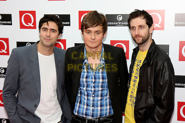 KEANE - TIM RICE OXLEY & TOM CHAPLIN.The Q Awards 2008, at the Grosvenor House Hotel, London, England..October 6th, 2008.half length black jacket grey gray blue plaid shirt yellow shirt beard facial hair .CAP/MAR.© Martin Harris/Capital Pictures.