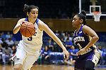 29 December 2015: Duke's Angela Salvadores (ESP) (left) and Western Carolina's Kyia Hough (right). The Duke University Blue Devils hosted the Western Carolina University Catamounts at Cameron Indoor Stadium in Durham, North Carolina in a 2015-16 NCAA Division I Women's Basketball game.