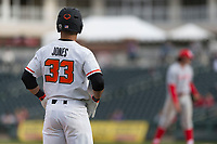 Oregon State Beavers left fielder Preston Jones (33) during a game against the New Mexico Lobos on February 15, 2019 at Surprise Stadium in Surprise, Arizona. Oregon State defeated New Mexico 6-5. (Zachary Lucy/Four Seam Images)