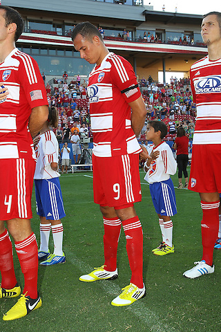 FRISCO, TX - SEPTEMBER 2: A general view of the opening ceremonies before the start of the game between the FC Dallas and the Seattle Sounders FC at FC Dallas Stadium on September 2, 2012 in Frisco, Texas. (Photo by Rick Yeatts)