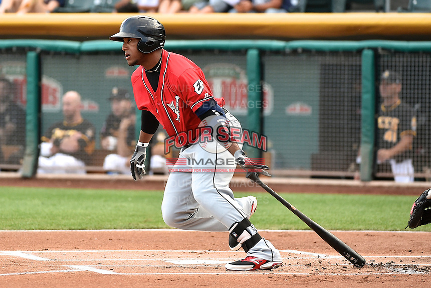 Rymer Liriano (36) of the El Paso Chihuahuas at bat against the Salt Lake Bees in Pacific Coast League action at Smith's Ballpark on August 7, 2014 in Salt Lake City, Utah.  (Stephen Smith/Four Seam Images)