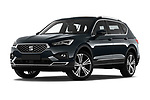Stock pictures of low aggressive front three quarter view of 2019 Seat Tarraco Xcellence 5 Door SUV Low Aggressive