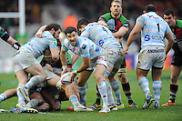 Mike Phillips of Racing Metro 92 passes during the Heineken Cup match between Harlequins and Racing Metro 92 at the Twickenham Stoop on Sunday 15th December 2013 (Photo by Rob Munro)