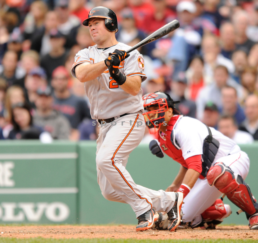 TY WIGGINTON, of the Baltimore Orioles , in action during the Orioles game against the Boston Red Sox at Fenway Park in Boston, Massachusetts  on April 25, 2010...The Orioles win 7-6