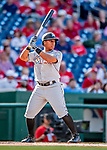 26 September 2018: Miami Marlins infielder Christopher Bostick at bat against the Washington Nationals at Nationals Park in Washington, DC. The Nationals defeated the visiting Marlins 9-3, closing out Washington's 2018 home season. Mandatory Credit: Ed Wolfstein Photo *** RAW (NEF) Image File Available ***