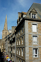 Old buildings and the Cathedral of St. Vincent inside the walled city at Saint-Malo, Brittany, France.