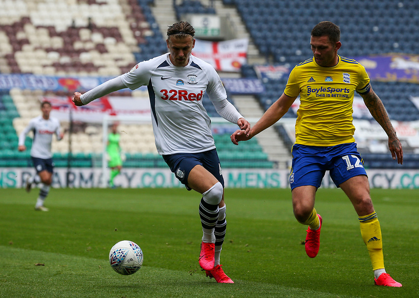 Preston North End's Brad Potts takes on Birmingham City's Harlee Dean<br /> <br /> Photographer Alex Dodd/CameraSport<br /> <br /> The EFL Sky Bet Championship - Leeds United v Barnsley - Thursday 16th July 2020 - Elland Road - Leeds<br /> <br /> World Copyright © 2020 CameraSport. All rights reserved. 43 Linden Ave. Countesthorpe. Leicester. England. LE8 5PG - Tel: +44 (0) 116 277 4147 - admin@camerasport.com - www.camerasport.com<br /> <br /> Photographer Alex Dodd/CameraSport<br /> <br /> The EFL Sky Bet Championship - Preston North End v Birmingham City - Saturday 18th July 2020 - Deepdale Stadium - Preston<br /> <br /> World Copyright © 2020 CameraSport. All rights reserved. 43 Linden Ave. Countesthorpe. Leicester. England. LE8 5PG - Tel: +44 (0) 116 277 4147 - admin@camerasport.com - www.camerasport.com