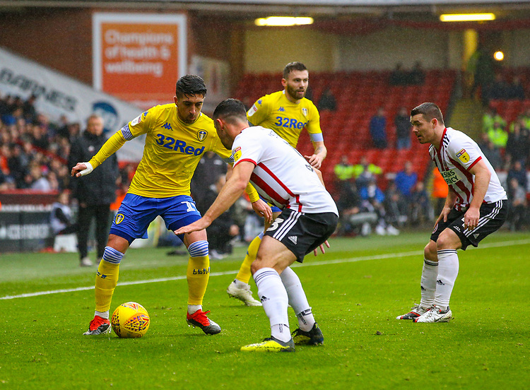 Leeds United's Pablo Hernandez takes on Sheffield United's Enda Stevens<br /> <br /> Photographer Alex Dodd/CameraSport<br /> <br /> The EFL Sky Bet Championship - Sheffield United v Leeds United - Saturday 1st December 2018 - Bramall Lane - Sheffield<br /> <br /> World Copyright © 2018 CameraSport. All rights reserved. 43 Linden Ave. Countesthorpe. Leicester. England. LE8 5PG - Tel: +44 (0) 116 277 4147 - admin@camerasport.com - www.camerasport.com
