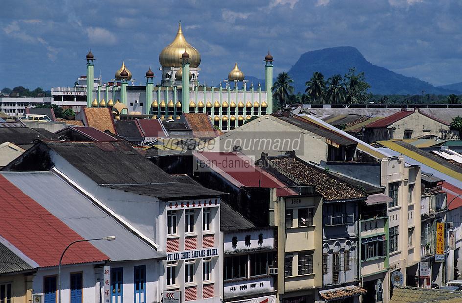 Asie/Malaisie/Bornéo/Sarawak/Kuching: Maisons et mosquée