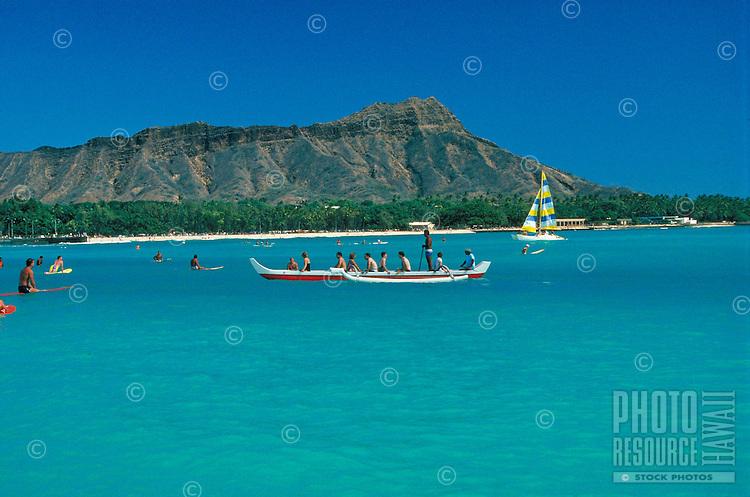Diamond head with Outrigger canoe and sailboat, Oahu