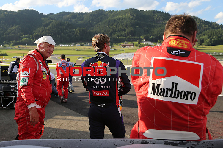Niki Lauda (AUT) 3x F1 World Champion, Mercedes-Benz non-executive chairman of the board of directors - Sebastian Vettel (GER), Red Bull Racing - Gerhard Berger (AUT)<br /> for the complete Middle East, Austria &amp; Germany Media usage only!<br />  Foto &copy; nph / Mathis